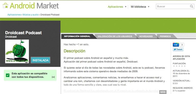 Aplicación de Droidcast en el Market
