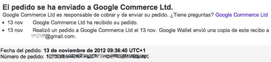 Pedido Google Wallet
